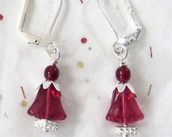 Valentine Themed Romantic Jewelry - Red Glass & Silver Jewelry - Dangle Silver and Red Earrings - February Earrings -