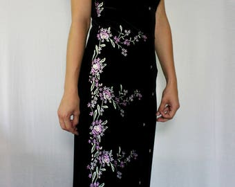 90s velvet embroidered dress