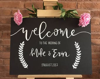 Large Hand Painted A2 Welcome sign | Create your own text | Black or White
