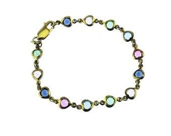 Vermeil Sterling Silver Heart Bracelet, Gold Heart Bracelet, Crystal Heart Bracelet