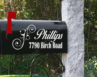 Custom Mailbox Decal-Set of 2-Personalized Mailbox-Name Mailbox Decal-Street Address Decal-Mailbox Decal-Mailbox Vinyl Decals-Mailbox Vinyls