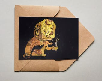Postcard: Lion drinking coffee