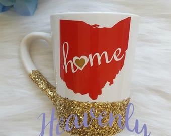 Ohio Home Glitter Mug, State of Ohio Glitter Mug,Ohio Heart/Home Glitter Mug, Ohio Glitter Coffee Mug, State Glitter Mug, State Coffee Mug