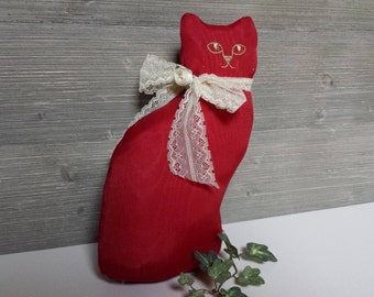 Vintage Stuffed Kitty Cat, Hallmark Cards 1987, Stuffed Animal, Rosy Red Fancy Cat, Gift for Cat Lover