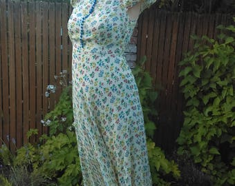 RARE 1930s floral silk chiffon maxi dress or gown with underarm cutouts! // small