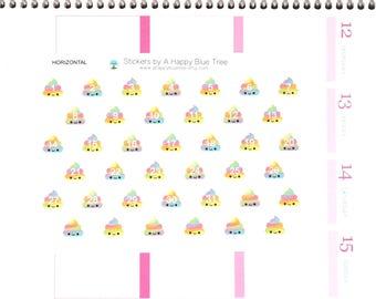 Happy Unicorn Rainbow Poo Date Covers for HORIZONTAL Erin Condren Life Planner ECLP Kawaii Cute Funny Personal Create Mambi Poop Countdown