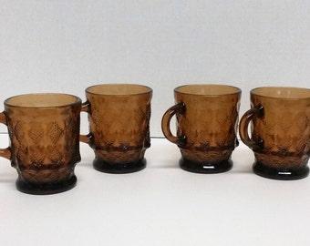 Vintage Anchor Hocking Kimberly Diamond Glass Mugs - 4, Kitchenware, Tableware,Bar Ware,Drink Ware,Coffee