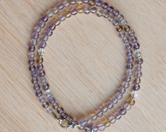 Ametrine Beaded Necklace, OM charm, healing crystals, yoga jewelry, gemstone necklace, abundance