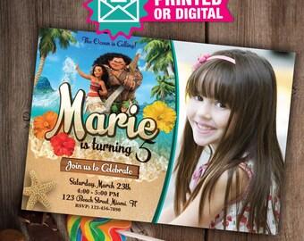 Printed or Digital - Moana Invitation, Printable Invites, Moana Birthday invite, Vaiana Invitations, Moana Party, Moana Birthday