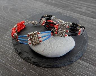 Ethnic bracelet, seed beads