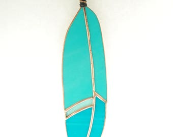 Stained Glass Feather Sun Catcher Teal