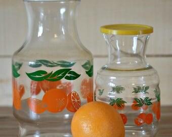 Two orange juice pitcher, Lemonade pitcher, Sangria pitcher,  Glass pitcher, 80s decor, Vintage pitcher, Mother day gift, Homewarming gift