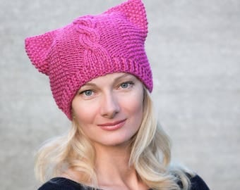 Knit pussyhat pink cat hat pink pussycat hat pink pussyhat project crochet pussy hat cat ear hat for cat lover gift womens nasty women hat