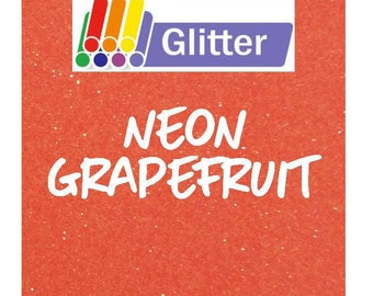 Siser Glitter Heat Transfer Vinyl - Iron On - HTV -  Neon Grapefruit