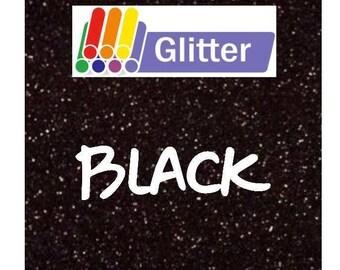 Glitter Heat Transfer Vinyl - Iron On - HTV - Black