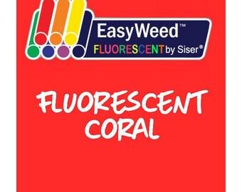 Siser EasyWeed Fluorescent Heat Transfer Vinyl - HTV - Fluorescent Coral