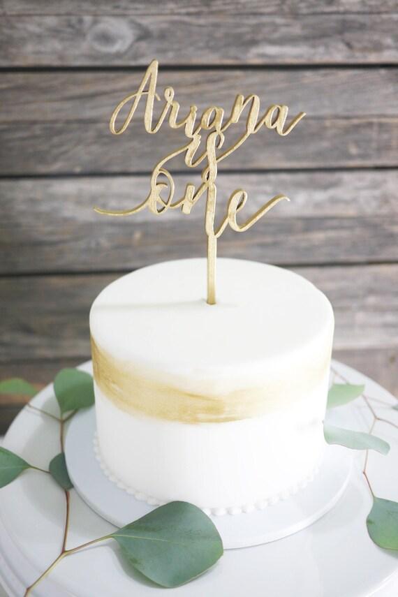 Custom First Birthday Name One Laser Cut Cake Topper Modern