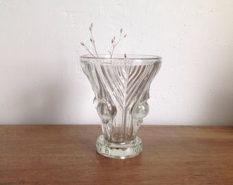 Art deco molded glass vase