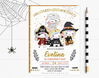 Halloween Costume Birthday Party Invitations, Halloween Costume Party Invites, Halloween Costume Party Invite, Halloween Invitation,