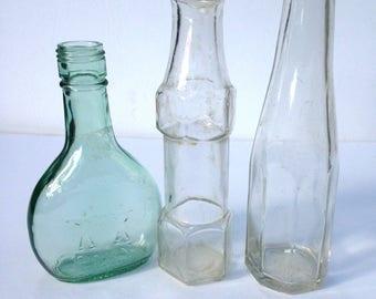 3 Cool Old Bottles / 1 Almaden Pony Wine Bottle / 2 Old Ketchup Bottles