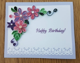Purple Quilled Paper Birthday Card