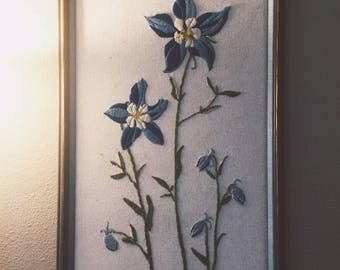 Vintage 70s Crewel Embroidery Wall Hanging Flowers With Wooden Frame