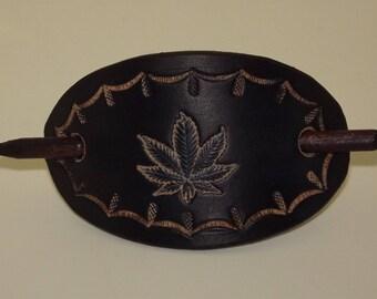 Handmade Leather hair barrette, hair slide, hair accessories stick hair slide, hand made