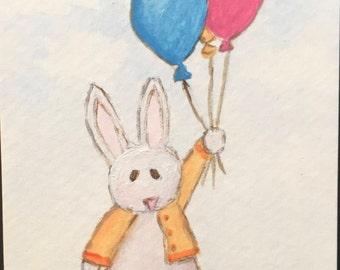 "Original Acrylic, ACEO / ATC, Bunny with Balloons - ""Up, Up and Away"""