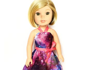 Halter Dress, Outer Space, Galaxy, Purple Pink, 14.5, Fits dolls such as American Girl, Wellie Wishers, 14 inch Doll Clothes