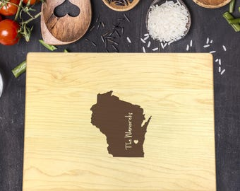 Custom Cutting Board, State, Wisconsin State, Heart Over City, Gift For Her, Gift For Him, Housewarming Gift, Christmas Gift,  B-0012