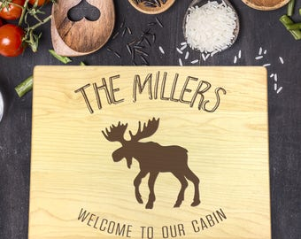 Personalized Cutting Board, Engraved Cutting Board, Custom Cutting Board, Wedding Gift, Housewarming Gift, Christmas Gift, Moose, B-0113