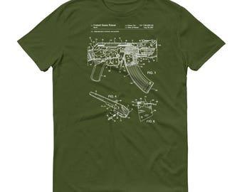 AK-47 Rifle Bolt Lock Patent T-Shirt - Rifle T-Shirt, Firearm Shirt, Weapon Patent Shirt, Gun Patent, Gun Shirt, AK-47 T-Shirt, AK-47 Patent