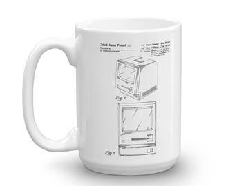 Apple Macintosh Computer Patent Mug - Vintage Computer, Geek Gift, Macintosh Mug, Apple Patent, Old Patent Mug, Steve Jobs Patent, Apple Mug