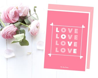 Love card for her, Love card printable, Girlfriend card, Birthday card, Wedding card, Friendship card, Card for my mother Card for my sister