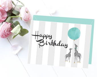 Happy birthday card, Printable birthday card, Birthday card, Printable card, Giraffe card, Scandinavian style, Love card, Birthday gift idea