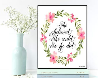 She Believed she could so she did quote, Girl quote poster, Girl quote print, Motivational quote, Nursery quote, Home wall art, Print gift