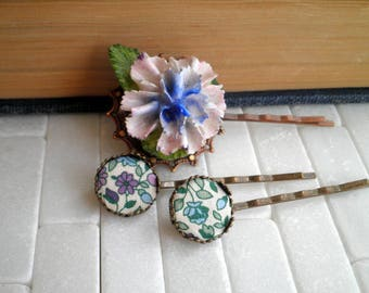 Floral Barrette Set - Vintage Wildflower Fabric Barrettes & Pink Porcelain Peony Hair Pin / Accessory - Retro Chic Flowers Barrette Set Gift