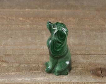2 inch MALACHITE Dog Stone Carving - Malachite Crystal Carving, Malachite Dog Figurine, Malachite Crystal, Malachite Stone Carving 36763