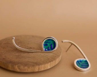Silver Musical earrings, musical notes earrings and artistic enamel-handmade