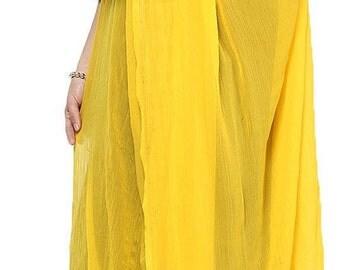 Free Shipping Yellow Chiffon Dupatta Long Stole Veil Stole Women Hijab Crochet Lace Sarong S20