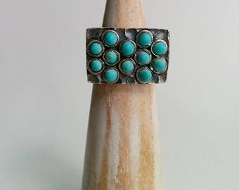 Sterling Silver Vintage Chunky Rectangular Hammered Ring set with a Cluster of Round Turquoise Colored Cabochons