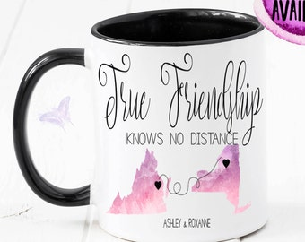 Long Distance Mug, State Mug, Best Friend Gift, Going Away Gift, State To State, Best Friend, Long Distance Relationship, Moving Away CM1086