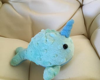 READY TO SHIP: handmade narwhal plush, whale plush, bubble minky