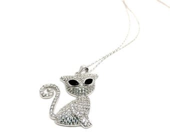 Women's Jewellery 925 Sterling Silver Necklace, Cat Pendant with Cubic Zirconia stones, Italian Jewellery, Gift Box Included. Birthday gifts
