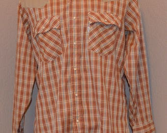 70's Levi's Vintage Western Snap Front Long Sleeve L Large Plaid
