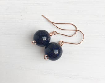 Blue Goldstone Earrings, Blue Sandstone, Sandstone Earrings, Rose Gold Earrings, Midnight Blue Jewelry, Gift For Her, Glamorous Earrings