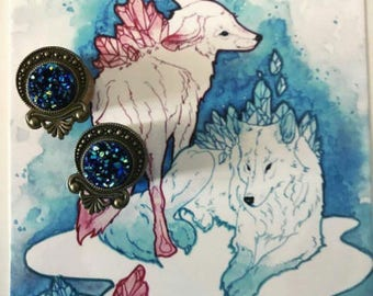 Pair of plugs 16mm faux blue crystals