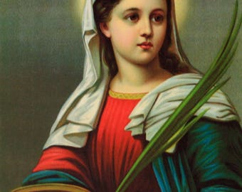 SAINT LUCY Santa Lucia Eye Problems 11x15 Catholic Print Picture Printed in Italy