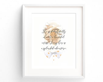 Quote Print - She Is Delightfully Chaotic - Love Quote - Gift For Her - Typography Print - Gifts Under 20 - Anniversary Gift - Home Decor