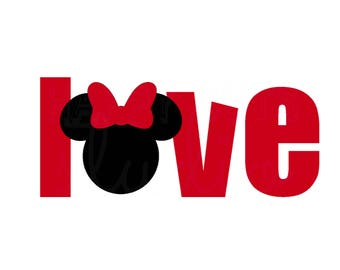 Love Minnie Mouse Decal / Mickey Girl Outfit Valentine's Day hearts newlyweds birthday party honeymoon Disney Iron On Vinyl for Shirt 137